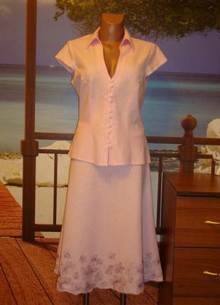 Костюм\как платье летнее\льняное\лен\с вышивкой  р.10-12