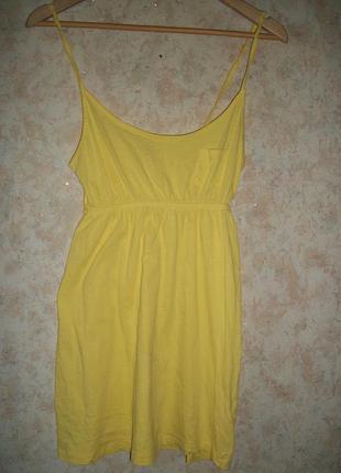 Туника топ майка платье трикотажное жёлтое