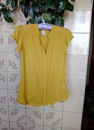 Шифоновая блуза h&m горчичного цвета. размер с.