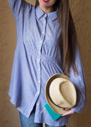 Удлинённая натуральная рубашка в полоску
