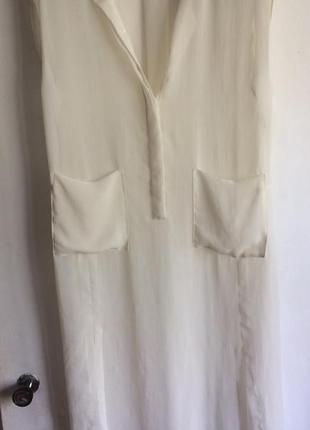 Прозрачная блуза длинная белая, молочная h&m