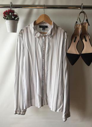 Актуальная вискозная рубашка блузка на пуговицах в полоску с длинным рукавом