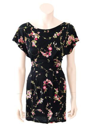 Платье в цветочек mango черная xs/s