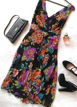 Очаровательное шифоновое  платье , в цветочный принт) с двумя юбками) коллекционное)