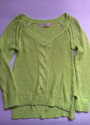 Яркий салатовый свитер zara