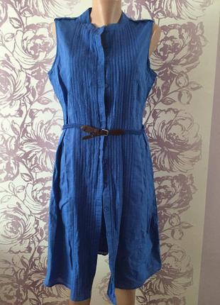 Платье с поясом синее debenhams