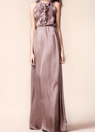 Вечернее платье в пол коричневое