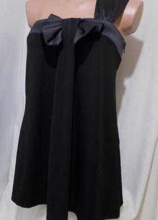 Эффектная струящаяся чёрная блуза. Бант *NEXT* 44р