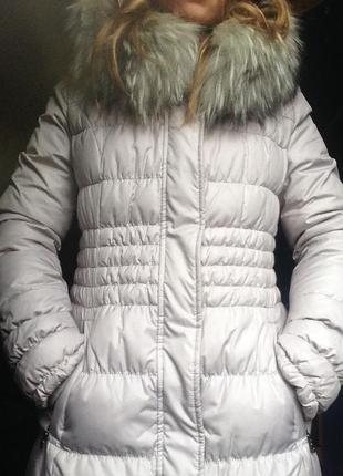 Пуховое пальто с натуральным мехом