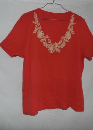Коттоновая футболка с вышивкой и бисером, укр.размер 48-52, в состоянии новой!