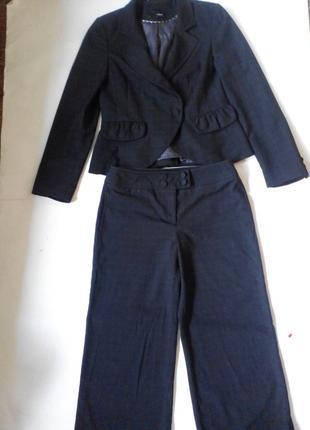 Деловой классический серый брючный костюм next, размер м, качество супер