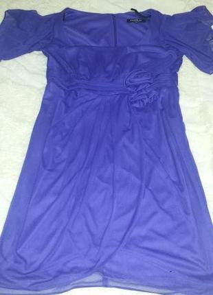 Шикарное нарядное трикотажное  платье сиреневого цвета.    размер 14w  ( наш 50-52 разм)