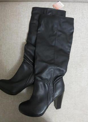 Сапоги на высоком каблуке из кожзама, черный цвет 41р, stradivarius
