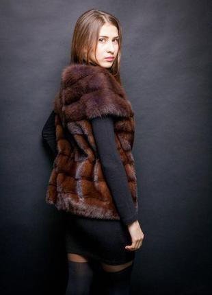 Жилетка  шикарный эксклюзивный жилет из соболя  скандинавской норки saga furs 44-48
