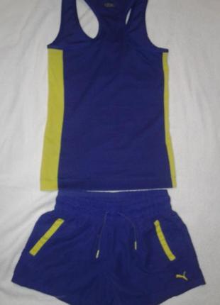 Классный спортивный костюм для фитнеса( стреч шорты,майка) puma,размер 36