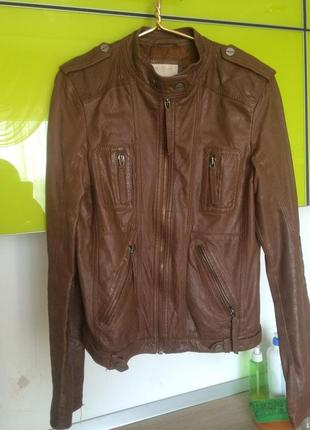 Кожаная куртка bershka, натуральная кожа