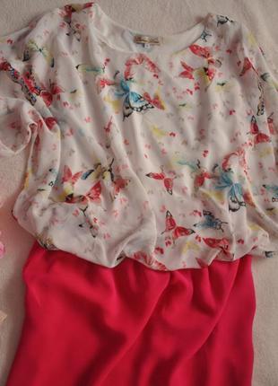 Шифоновая блуза в весенних бабочка