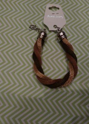 Браслет коричневый проволока объемный