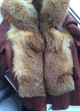 Кожаная куртка+мех лисицы