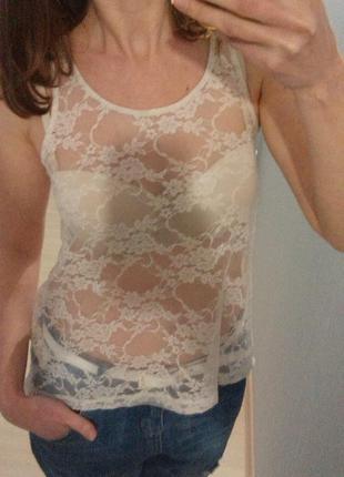 Блуза нюдовая кружевная  от h&m