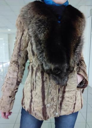 Натуральная шуба из козы и чернобурки