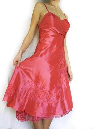 Красивое праздничное розовое платье на выпускной