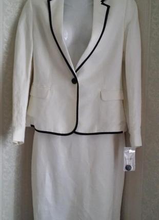 Новый летний  белый льняной костюм mango