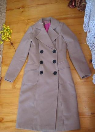 Супер бежевое кашемировое пальто