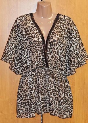 Пляжная шифоновая блуза туника в леопардовый принт xl