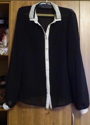 Красивая блуза из шифона, воротничок в бусинках бренд atmosphere