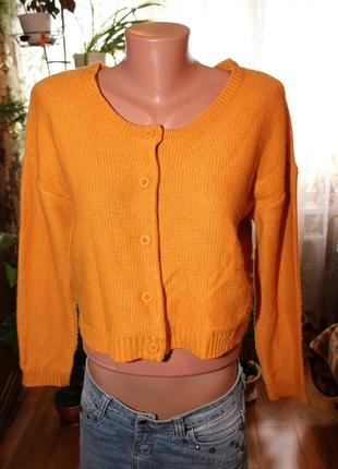 Укороченный свитер, кроп топ горчичный цвет от h&m 100%акрил