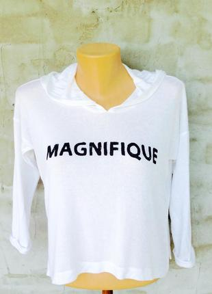 Легкая белая футболка с капюшоном и надписью , h&m , 36