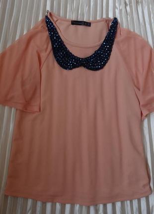 Снизила цену стильная блузочка персик цвета 8 - размер .