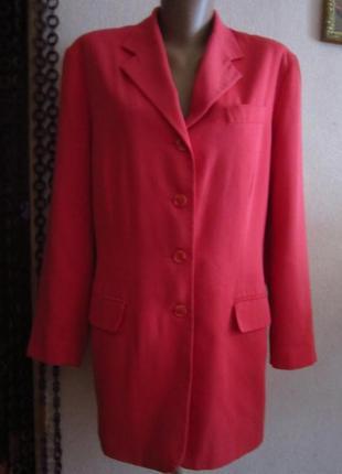 Удлинённый пиджак кораллового цвета от modern classics.размер 20,но мне кажется больше(см.замеры).