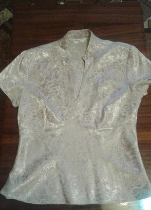 Нарядная блуза next бежевого цвета с боковым замком , размер 12  (40)