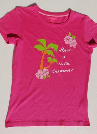 Яркая футболка с принтом пальмы. хлопок.
