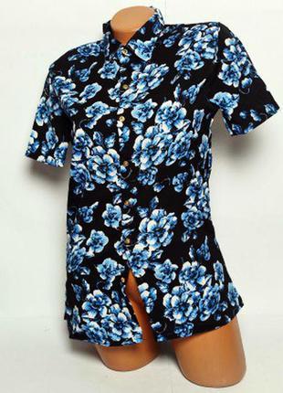 Нарядная черная блузка рубашка в синих цветочках!