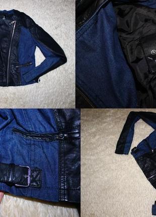 Стильная курточка косуха atmosphere из комбинированной ткани кож зам+джинс