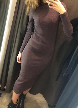 Платье зара zara миди в пол длинное фиолетовое