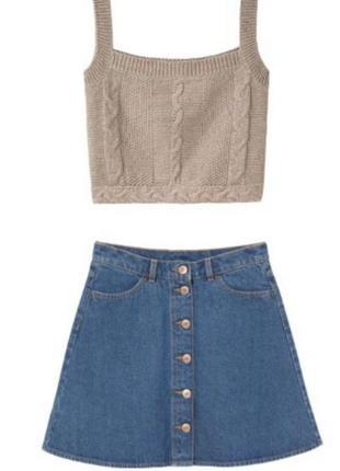 Юбка джинсовая на пуговицах h&m
