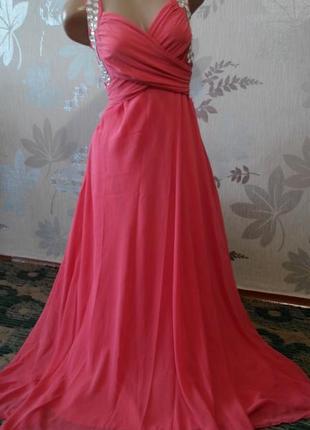 Скидки! обновочки на страничке! шикарное коралловое платье в пол