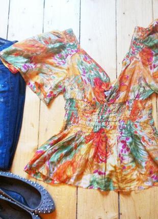 Шелковая блуза яркая