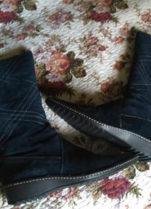 Распродажа! отличные теплые замшевые сапоги elche синие натуральный мех размер 41