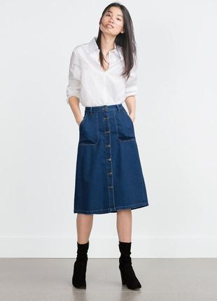 Джинсовая юбка миди с накладными карманами only