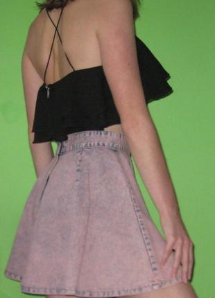 Джинсова коротка спідниця-сонце юбка солнце денім деним джинс варенка