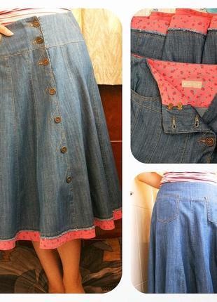 Оригинальная новая джинсовая юбка с хлопковым кантом на метал. пуговках, per una от m&s made turkey