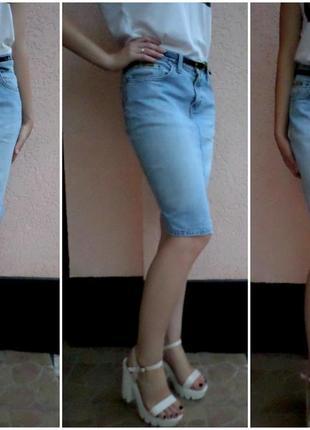 Светло-голубая джинсовая миди юбка l/xl от cars jeans