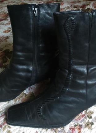 Распродажа! отличные теплые полусапожки  gabor черные натуральная кожа и мех размер 6.51