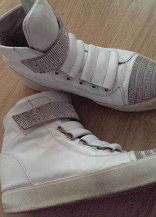 Белые высокие кожаные кеды, кроссовки, сникерсы, турция, р.37