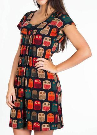 Новое трикотажное тёплое платье с принтом в совы